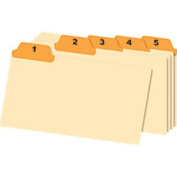 Office Depot Manila Card Guides With Laminated Tabs, Daily, 5in. x 8in., Manila/Orange, 31 Guides, (Guides Daily 1/5 Tab)