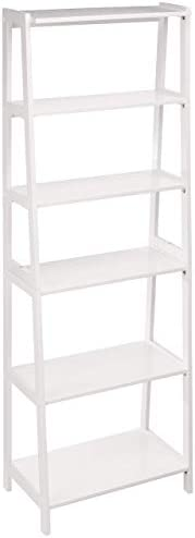 AmazonBasics Classic 5-Tier Open Bookcase with Solid Rubber Wood – White