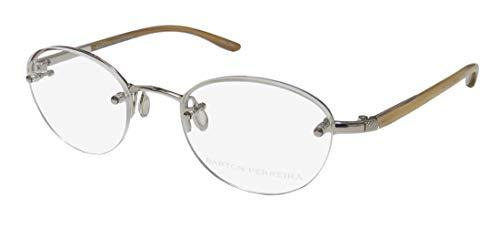 Barton Perreira Warren Mens/Womens Designer Half-rim Titanium Gorgeous Hip Eyeglasses/Spectacles (48-20-140, Silver/Light ()