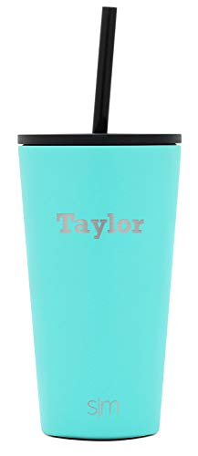 Simple Modern Personalized Gift Tumbler Custom, Classic 16oz - Straw & Flip Lid, Oasis