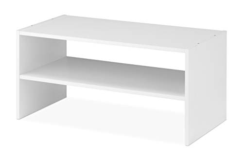 Whitmor Wood Stackable 2-Shelf Shoe Rack, 24 INCH, White (Shelves Two)