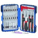 33 Piece Deluxe Hobby Knife Set with Carrying Case and tweezers, caliper, jeweler's precision screwdriver and pen-type aluminum precision screwdriver with 6 bits