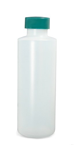 Qorpak PLC-03423 Natural HDPE Commercial Cylinder with Green Thermoset F217 and PTFE Lined Cap, 16oz Capacity, 24mm Stopper (Case of 24)