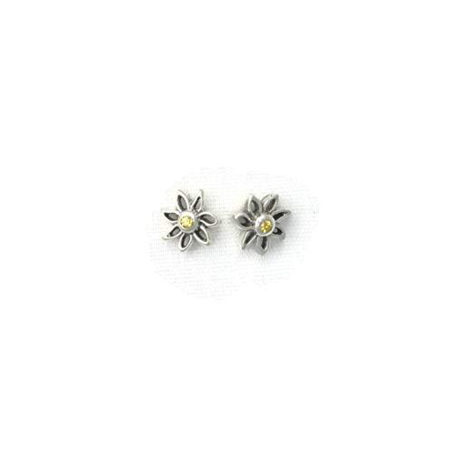 Sterling Silver Yellow Sapphire Daisy Earrings, Silver Daisy Earrings fr Donna Pizarro's Flower Garden Collection
