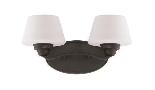 (Nuvo Lighting 60/5322 Ludlow Two Light Vanity 100 Watt A19 Max. CUL Damp Location Satin White Glass Russet Bronze Fixture)