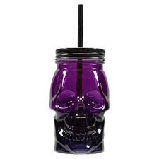 4in 500 Straws - Ashland Glass Skull Jar With Lid And Straw (Purple)