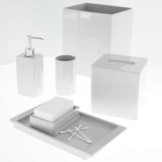 Kassatex Lacca Collection Waste Bin - White (Trash Can Lacquer)