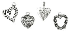 Blue Moon Plated Metal Dangle Charms, Silver Large Heart Assortment, 4/Pkg