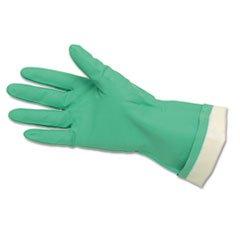 ** Flock-Lined Nitrile Gloves, Green **