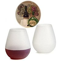 White Hehing Portable Silicone Stemless Wine Glasses for Drink Party Picnic