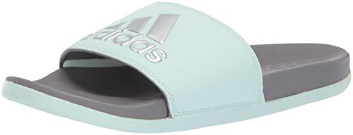 adidas Women's Adilette Comfort Sandal, ice Mint/Silver Metallic/Grey, 7 M US