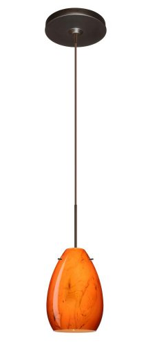 (Besa Lighting 1XP-1713HB-BR 1X50W Gy6.35 Pera 6 Pendant with Habanero Glass, Bronze Finish)