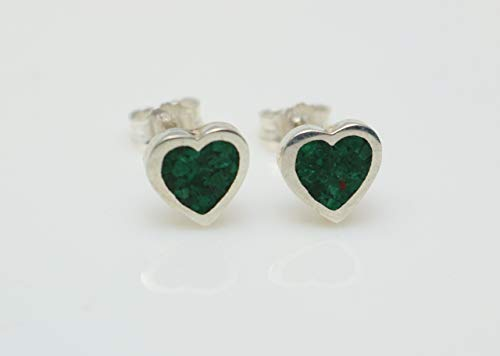 Heart-Shaped Malachite Gemstone Earrings Handcrafted, Semi Precious Stone by Handmade Studio