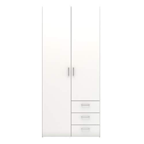 Tvilum Space Wardrobe with 2 Doors and 3 Drawers, White