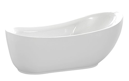 ANZZI 71 in Talyah Glossy White Acrylic Oval Flat Bottom Freestanding bathtub | Luxury Soaking Deep Large Bathroom Round Standing Tub with Built in Overflow and Drain | FT-AZ090