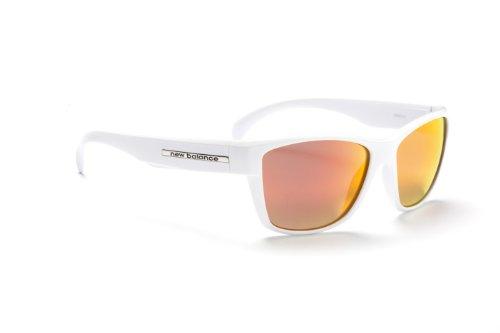 New Balance NB 509–�?gafas de sol, brillante color blanco polarizadas G15gris con Zaio rojo