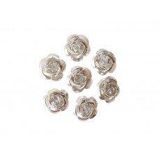 10 Perles Fleurs 10mm Argent