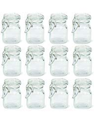 - Square Apothecary Glass jar with locking lid clamp closure (24)