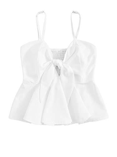 SheIn Women's Cute V Neck Gingham Ruffle Hem Peplum Cami Top White