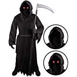 Grim Reaper Costume for Kids with Light Up Red Eyes (Medium -