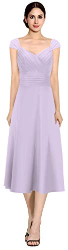ThaliaDress Womens Chiffon Tea Length Cap Sleeves Mother of The Bride Dress Bridesmaid Dress T048LF Lavender US14