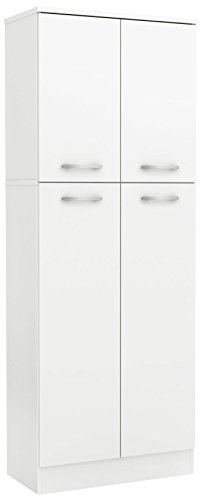 South Shore 4-Door Storage Pantry with Adjustable Shelves, Pure White