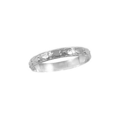 Baby Jewelry - 14K White Gold All Around Faceted Heart Ring (Size 1) - Baby Jewelry White Gold