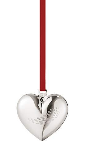 (Georg Jensen Heart Christmas Decoration Set, Palladium Plated Brass, Silver, One Size)