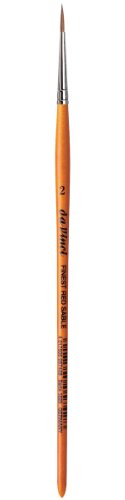 da Vinci Watercolor Series 1520 Paint Brush, Round Pure Red Sable with Short Brown Lacquered Handle, Size 2 (1520-02)