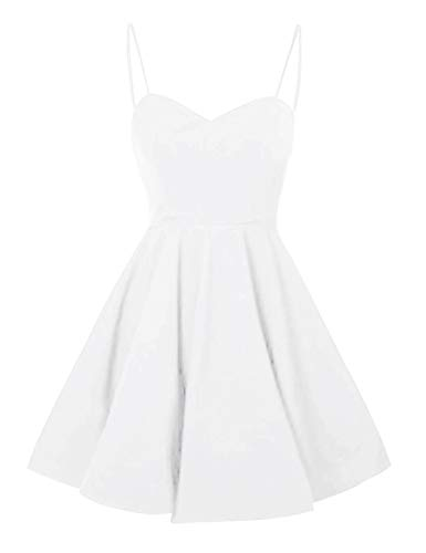 Short Party Women's Spaghetti Dress Homecoming Bridal White Cocktail Bess Straps Prom 6w8EIxq5