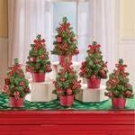 Shree Set of 6 Festive Mini Red Christmas Trees