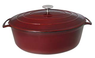 - Le Cuistot Enameled Cast Iron Oval Dutch Oven | 7 Quart, Beautiful Cherry Red Color, Oven Safe and Induction Compatible, Easy Maintenance