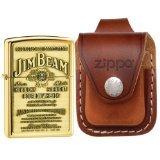 Zippo 254BJB929 Jim Beam Emblem High Polish Brass Lighter & Brown Leather Loop Pouch