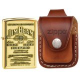 Zippo 254BJB929 Jim Beam Emblem High Polish Brass Lighter & Brown Leather Loop Pouch