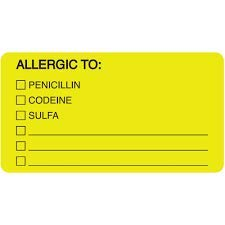 ARD 1550 Yellow Large Allergic to Choices - Allergy Medical Alert Labels - roll of 500-3-1/4 X 1-3/4 Size - (ARD1550 Yellow) -  ALL STAR QUALITY PRODUCTS