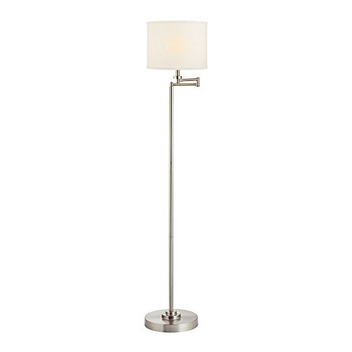 Cheap Swing Arm Floor Lamp with White Linen Drum Lamp Shade