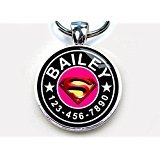 Pet Tags Superman Pink Custom pet ID Tag Dog tag cat (Large 1.5