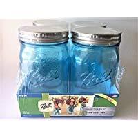 Ball Mason Jar-32 oz. Aqua Blue Glass Ball Collection Elite Color Series Wide Mouth-Set of 4 Jars (Limited Edition) ()