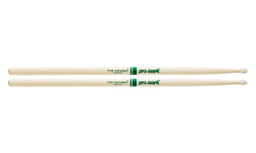 Promark TXR7AN American Hickory Natural Nylon Tip, Single Pair, - Mark Drumsticks Pro Hickory Natural
