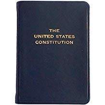 Palm Size Constitution in Dark Navy-Blue Leather by Graphic Image™ - 2.75x3.75