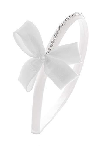 comprare bene design di qualità diversificato nella confezione Cerchietto bianco con swarovski e fiocco per Prima Comunione ...