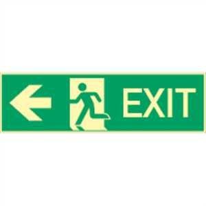 Cartel de aluminio Exit Izquierda langnachleuchtend 310 de ...