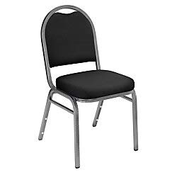 National Public Seating Dome-Back Stacking Chairs, Fabric, Ebony Black/Silvervein