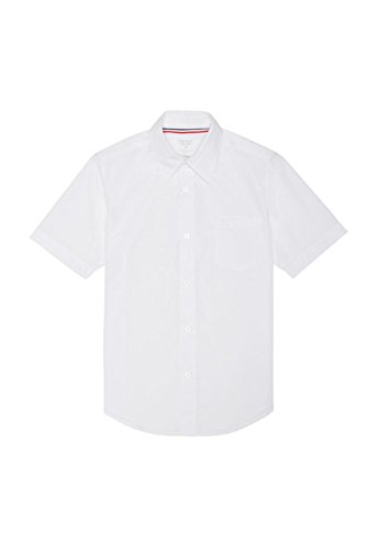 French Toast Little Boys' Short Sleeve Poplin Dress Shirt, White, 5