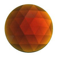 Stained Glass Jewels - 20mm Round Faceted - Dk Amber