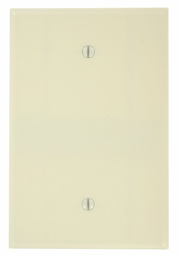 - Leviton 86114 001-000 1-Blank Oversized Wall Plate, 1 Gang, 5-1/4 in L X 3-1/2 in W 0.255 in T, Smooth, Ivory
