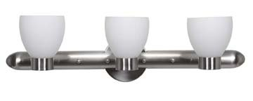 Brushed Steel / Opal Three Light Up Lighting 26In. Wide Bathroom Fixture From The Frisco Collection