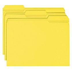 Folders W/2 Ply Tabs - Smead File Folder, Reinforced 1/3-Cut Tab, Letter Size, Yellow, 100 per Box (12934)