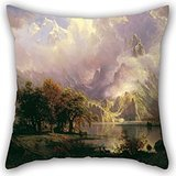 Oil Painting Albert Bierstadt - Rocky Mountain Landscape Throw Pillow Covers 18 X 18 Inch / 45 By 45 Cm For Family,girls,lounge,drawing Room,outdoor,kids With Each Side