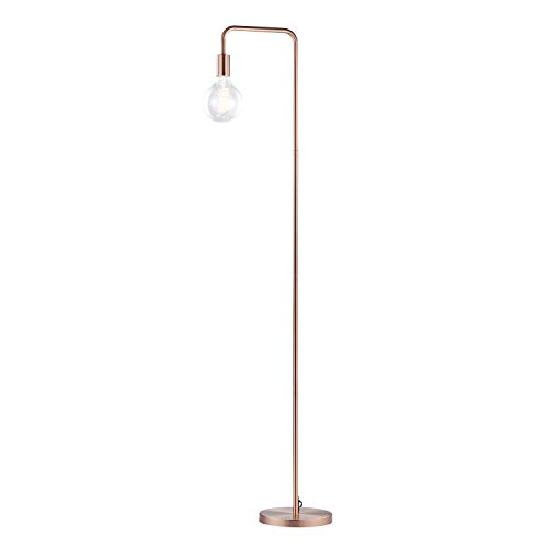 Light Society LS-F260-BC Fulton Brushed Copper Floor Lamp with Exposed Bulb, Vintage Retro Industrial Modern Style